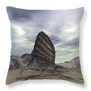 Dimetrodon Grandis Traverses Earth Throw Pillow by Walter Myers