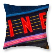 Diner Sign In Neon Throw Pillow