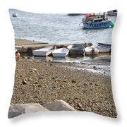 Dinghies At Green Harbor Throw Pillow