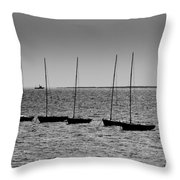 Dinghies Moored Off Of Leigh On Sea Essex Throw Pillow