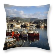 Dingle, Co Kerry, Ireland Boats In A Throw Pillow