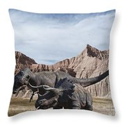Dino's In The Badlands Throw Pillow