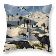 Dinosaurs Gather At A Life Saving Oasis Throw Pillow