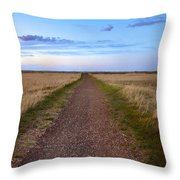 Dirt Road Through The Prairie Throw Pillow