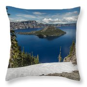 Discovery Point And Wizard Island Throw Pillow