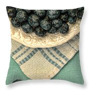 Dish Of Fresh Blueberries Throw Pillow