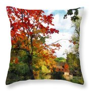 Distant Mill  In Autumn Throw Pillow