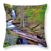 Distant Ozone Falls And Rapids In Autumn Throw Pillow
