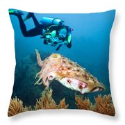 Diver And Cuttlefish Throw Pillow