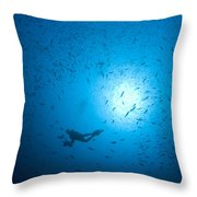 Diver And School Of Fish In Blue Water Throw Pillow