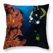 Diver And Sea Fans, Fiji Throw Pillow