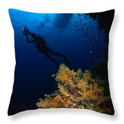 Diver And Soft Coral, Fiji Throw Pillow