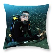 Diver Collects Invasive Lionfish Throw Pillow