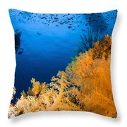 Diver Hovering Over Soft Coral Reef Throw Pillow