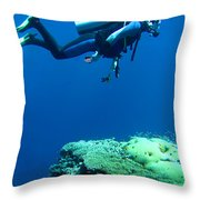 Diver In Deep Throw Pillow