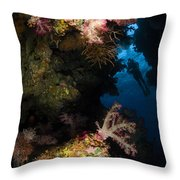 Diver In Soft Coral Seascape, Fiji Throw Pillow