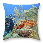 Diver Looks At Scorpionfish Throw Pillow