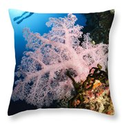 Diver Over Soft Coral Seascape Throw Pillow