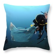 Diver Removes Invasive Indo-pacific Throw Pillow