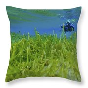 Diver With Fluorescent Green Algae Throw Pillow