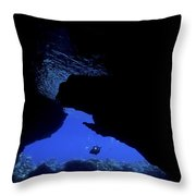 Diver With Lights Entering A Submerged Throw Pillow