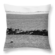 Diving Coney Island In Black And White Throw Pillow