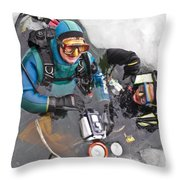 Diving In The Ice Throw Pillow