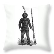 Diving Suit, 1855 Throw Pillow