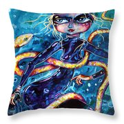 Diving With Serpent Throw Pillow