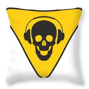 Dj Skull On Hazard Triangle Throw Pillow by Pixel Chimp