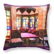 Do-00520 Emir Bachir Palace Interior-violet Bkgd Throw Pillow