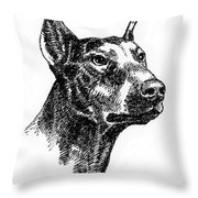 Doberman-pincher-portrait Throw Pillow