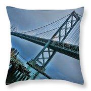 Dock By The San Francisco Bay Bridge Throw Pillow