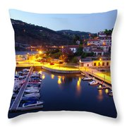 Dock In Douro River Throw Pillow
