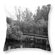 Dock On The River In Black And White Throw Pillow