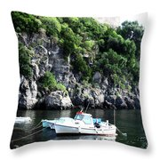 Docked At Sea Throw Pillow