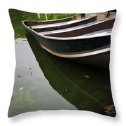 Docked In Central Park Throw Pillow