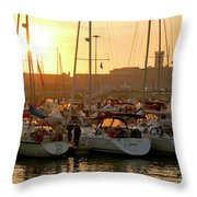 Docked Yachts Throw Pillow