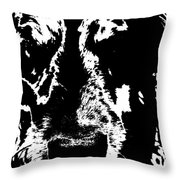 Dog Abstract Black And White Throw Pillow