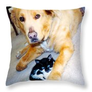 Dog Named Forest And Kitten Named Princess Throw Pillow