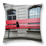 Dog On A Big Red Bench Throw Pillow
