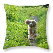 Dog Running In The Green Field Throw Pillow