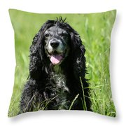Dog Sitting On The Green Grass Throw Pillow
