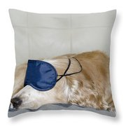Dog Sleeping With A Sleep Mask Throw Pillow