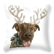 Dog With Antlers Throw Pillow