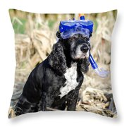 Dog With Diving Mask Throw Pillow
