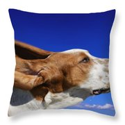 Dog With Ears In The Wind Throw Pillow
