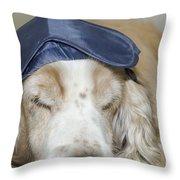 Dog With Sleep Mask Throw Pillow
