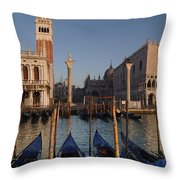 Doges Palace And San Marcos Bell Tower Throw Pillow