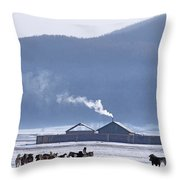 Dogs Play Outside In Rinchenlhumbe Throw Pillow